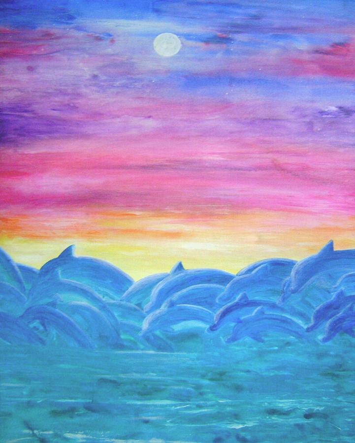 Dolphin Sunset Painting