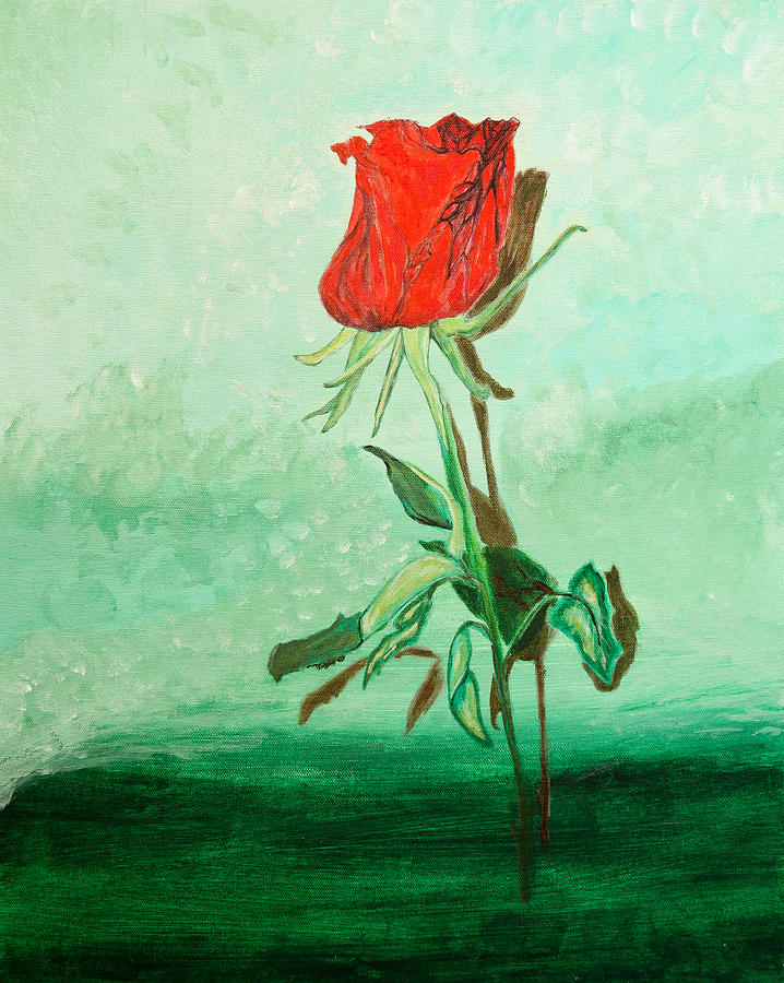 Dying Rose Painting  - Dying Rose Fine Art Print