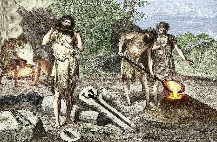 Early Humans Smelting Bronze Photograph