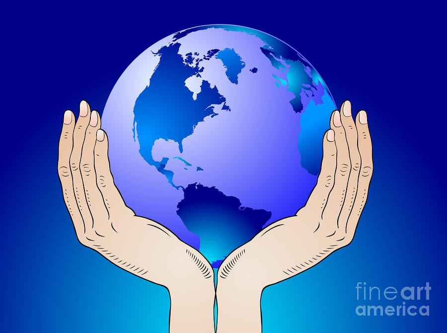 Earth In The Your Hands Digital Art