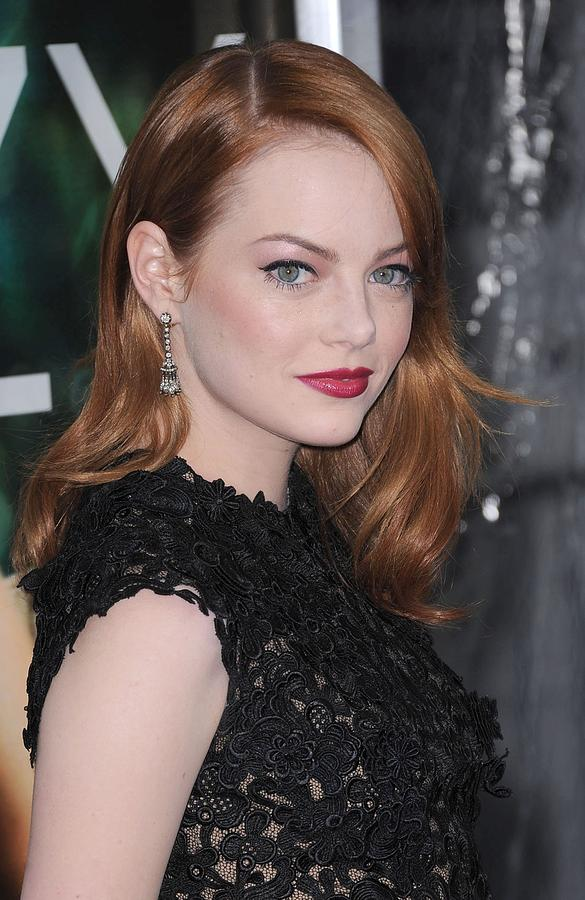 Emma Stone Photograph - Emma Stone Wearing Fred Leighton by Everett