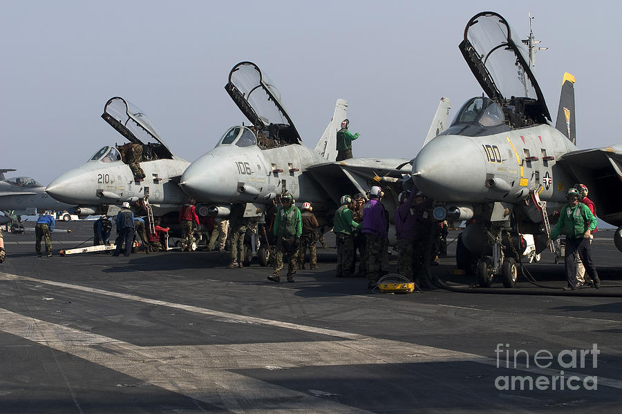 F-14d Tomcats On The Flight Deck Of Uss Photograph