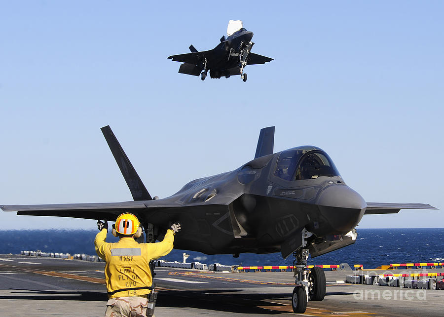 F-35b Lighnting II Variants Land Aboard Photograph  - F-35b Lighnting II Variants Land Aboard Fine Art Print