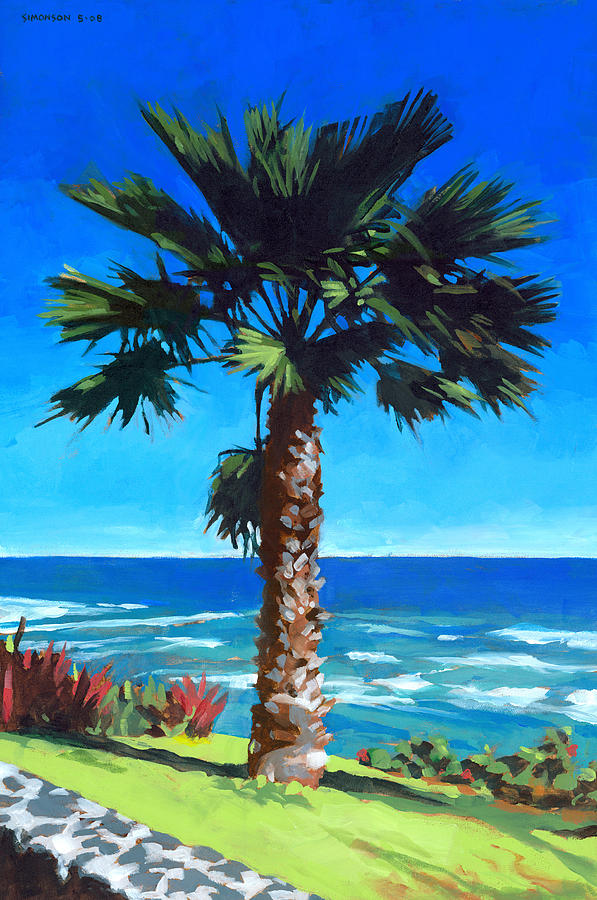 Fan Palm - Diamond Head Painting  - Fan Palm - Diamond Head Fine Art Print