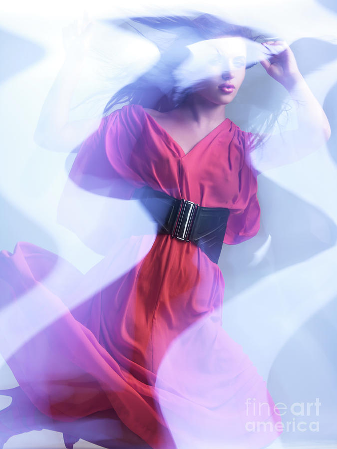 Fashion Photograph - Fashion Photo Of A Woman In Shining Blue Settings Wearing A Red  by Oleksiy Maksymenko