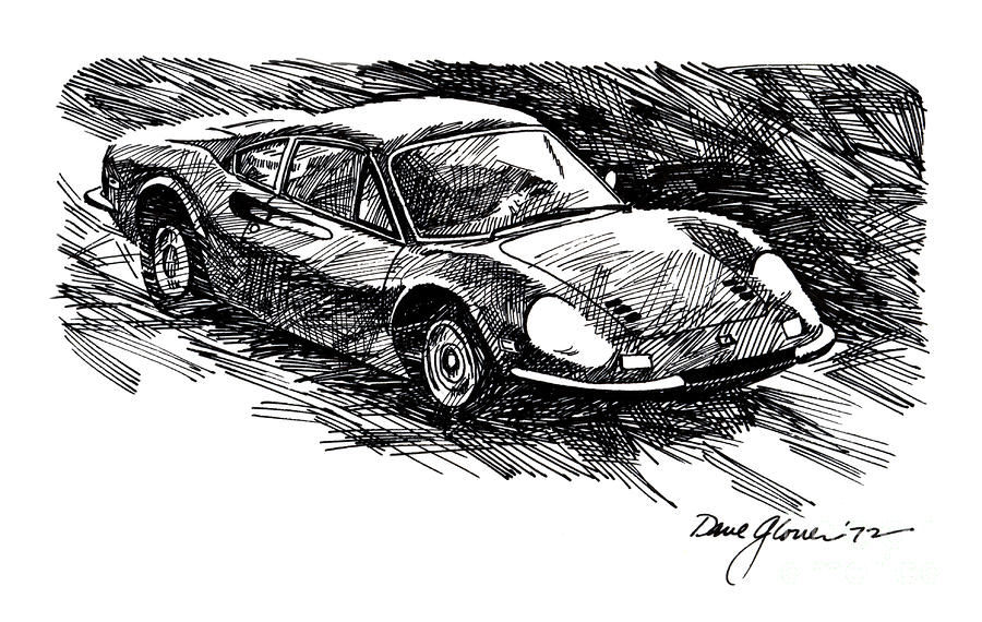 Ferrari Dino Drawing  - Ferrari Dino Fine Art Print