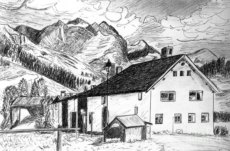 Fextal Switzerland Drawing  - Fextal Switzerland Fine Art Print