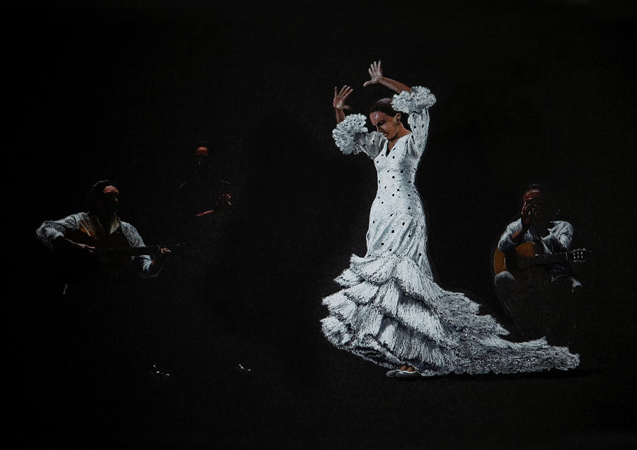 Flamenco Dancer And Guitarists Drawing