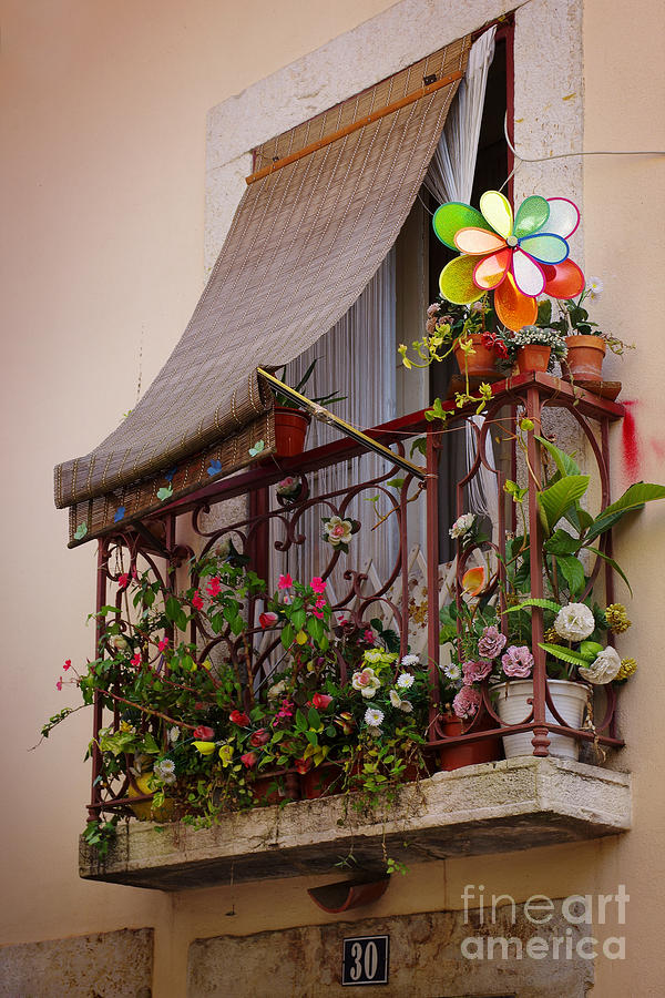 Flowery Balcony Photograph  - Flowery Balcony Fine Art Print