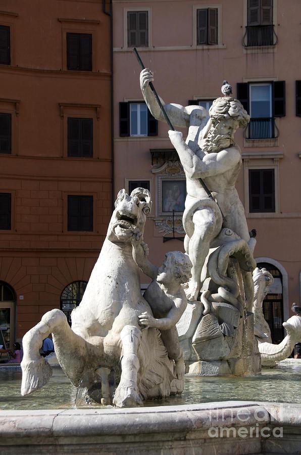 Fontana Del Nettuno. Neptune Fountain. Piazza Navona. Rome Photograph