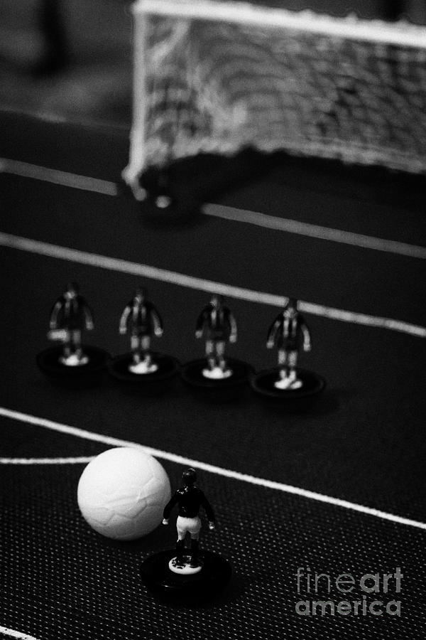 Free Kick With Wall Of Players Football Soccer Scene Reinacted With Subbuteo Table Top Football  Photograph