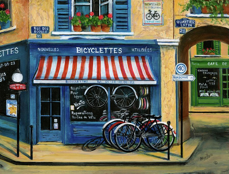 French Bicycle Shop Painting