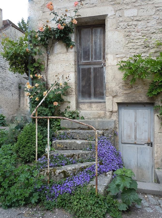 French Staircase With Flowers Photograph  - French Staircase With Flowers Fine Art Print