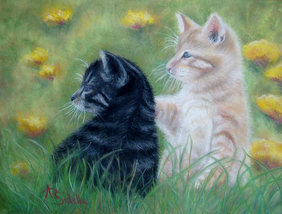 Kittens Painting - Frisky Friends by Annamarie Sidella-Felts