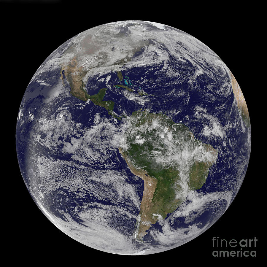 Full Earth Showing North America Photograph  - Full Earth Showing North America Fine Art Print