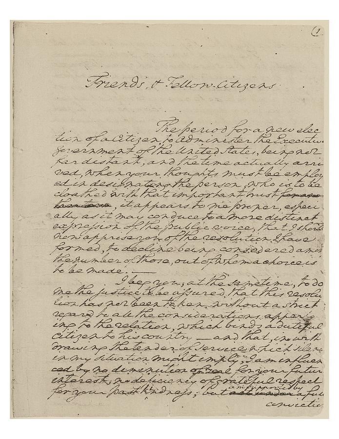 george washingtons farewell address George washington's farewell address (september 19, 1796), edited for time for use in the boy scout citizenship in the nation merit badge course.
