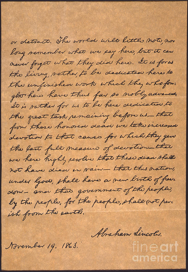 Gettysburg Address Photograph