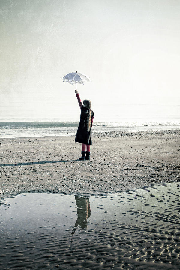 Girl On The Beach With Parasol Photograph