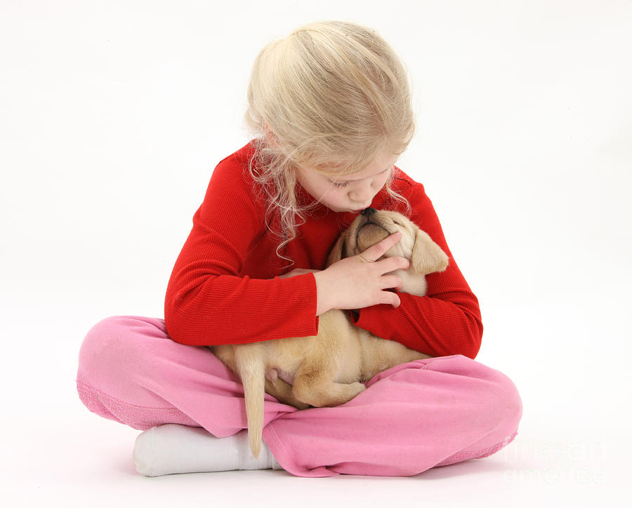 Girl With Puppy Photograph
