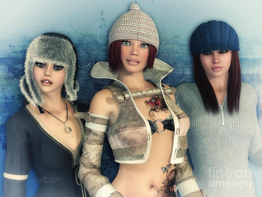 3d Digital Art - Girlfriends by Jutta Maria Pusl
