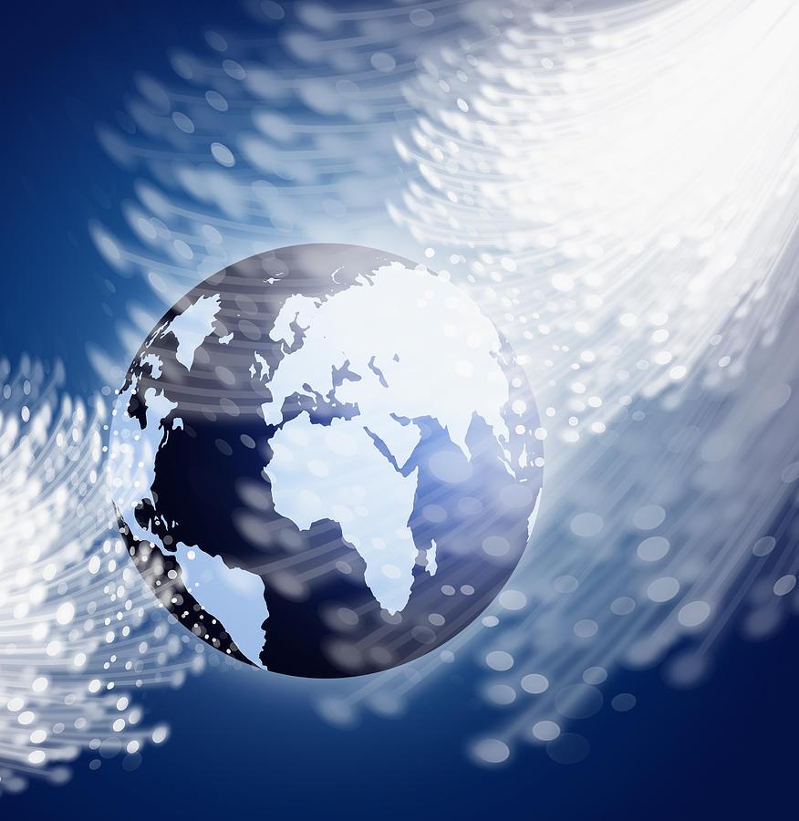 Globe With Fiber Optics Photograph