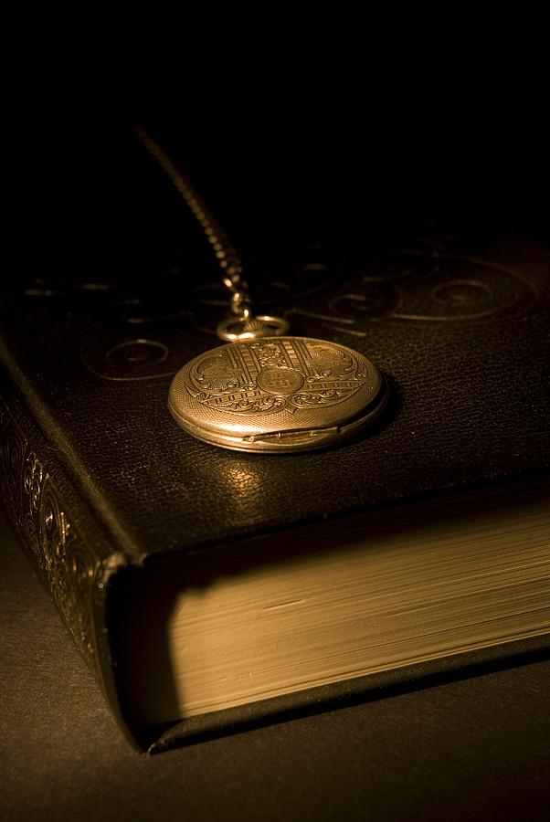 Gold Pocket Watch Resting On A Book Photograph  - Gold Pocket Watch Resting On A Book Fine Art Print