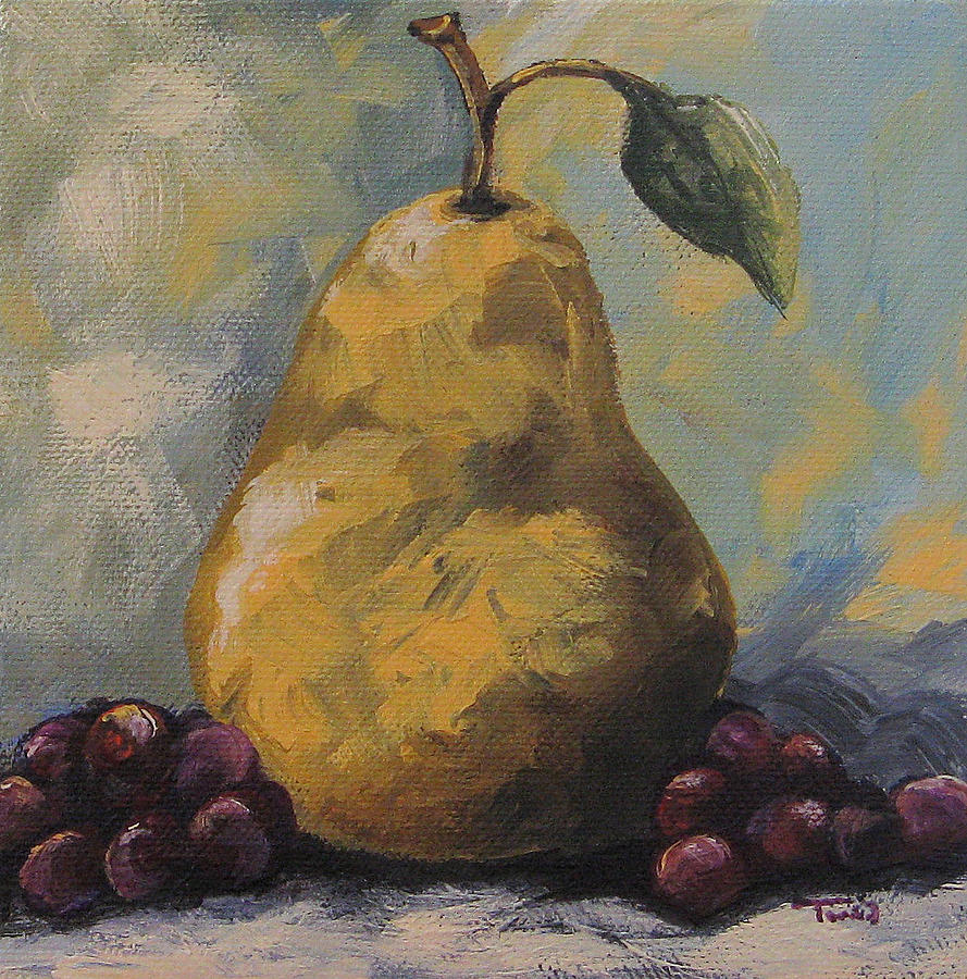 Golden Pear With Grapes Painting