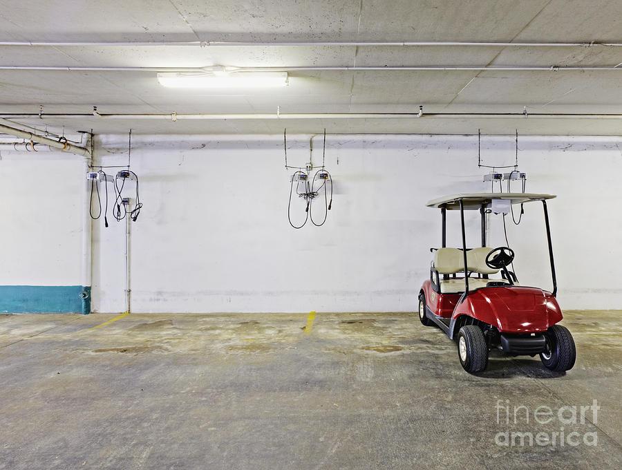 Basement Photograph - Golf Cart Parking Garage by Skip Nall