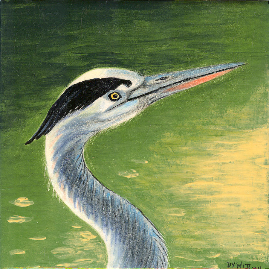 Great Blue Heron Painting - Great Blue Heron by Dy Witt