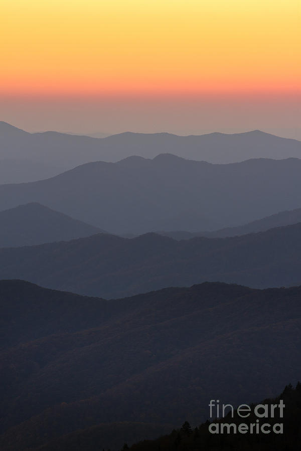Great Smokie Mountains At Sunset Photograph