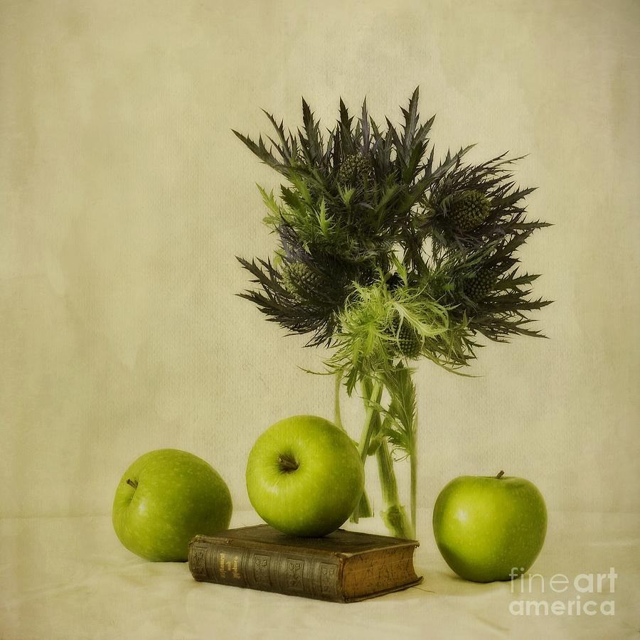 Green Apples And Blue Thistles Photograph  - Green Apples And Blue Thistles Fine Art Print