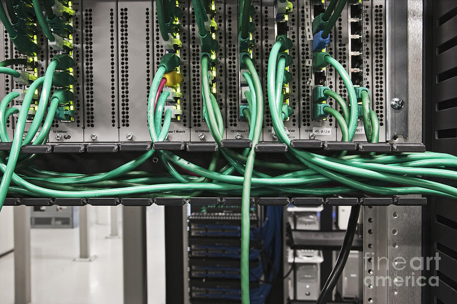 Green Cables And Computer Server Photograph