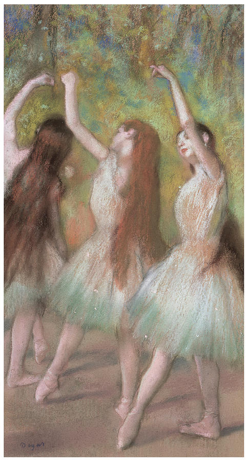 Green Dancers Pastel