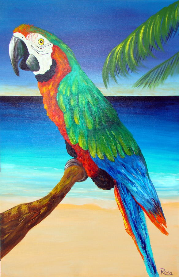 Green parrot painting - photo#1