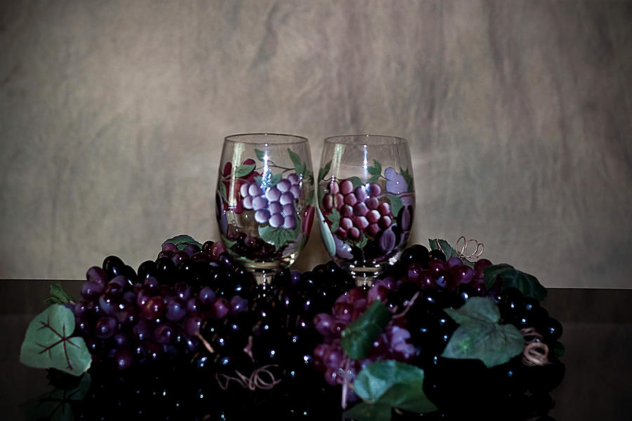 Hand Painted Wine Glasses Grapes And More Grapes  Photograph  - Hand Painted Wine Glasses Grapes And More Grapes  Fine Art Print