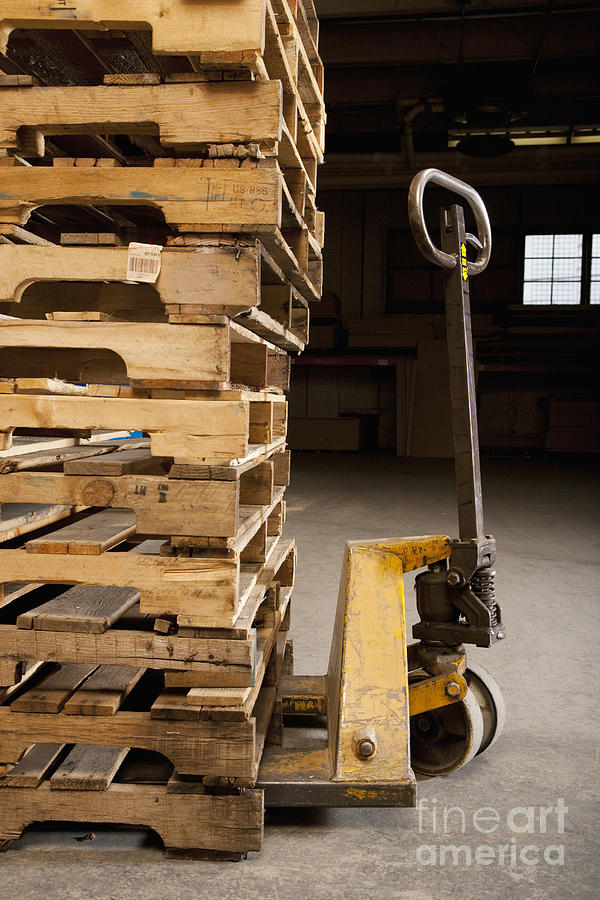 Hand Truck And Wooden Pallets Photograph  - Hand Truck And Wooden Pallets Fine Art Print