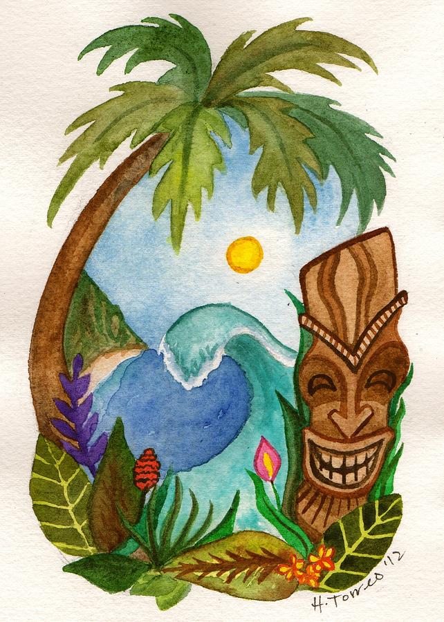 Vignette Painting - Hawaiian Vignette by Heather Torres