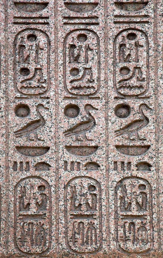 Hieroglyphs On Ancient Carving Photograph