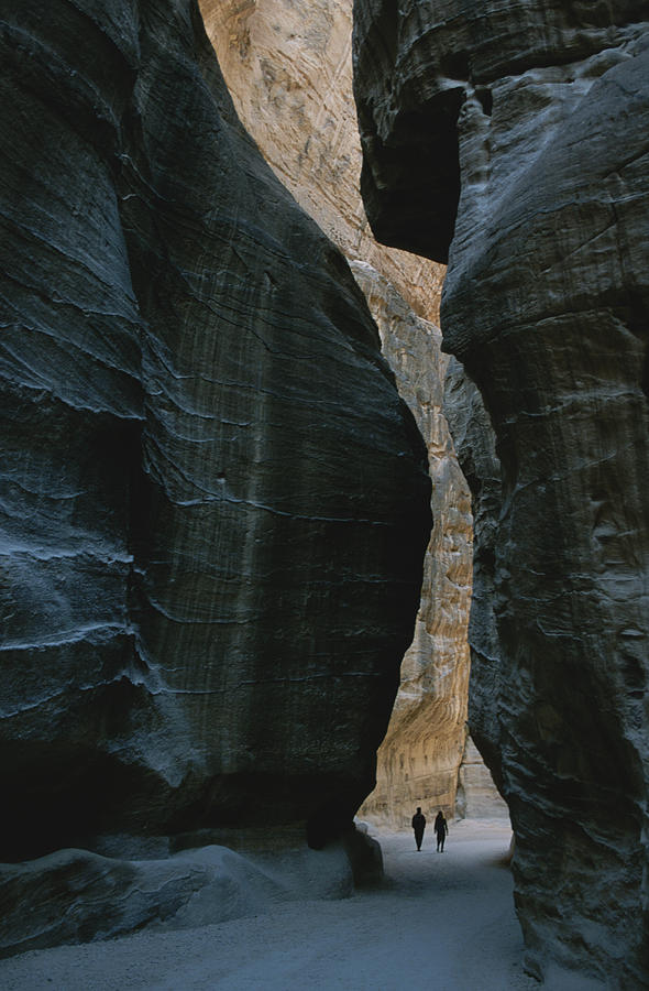 Hikers In The Siq Canyon Leading Photograph  - Hikers In The Siq Canyon Leading Fine Art Print