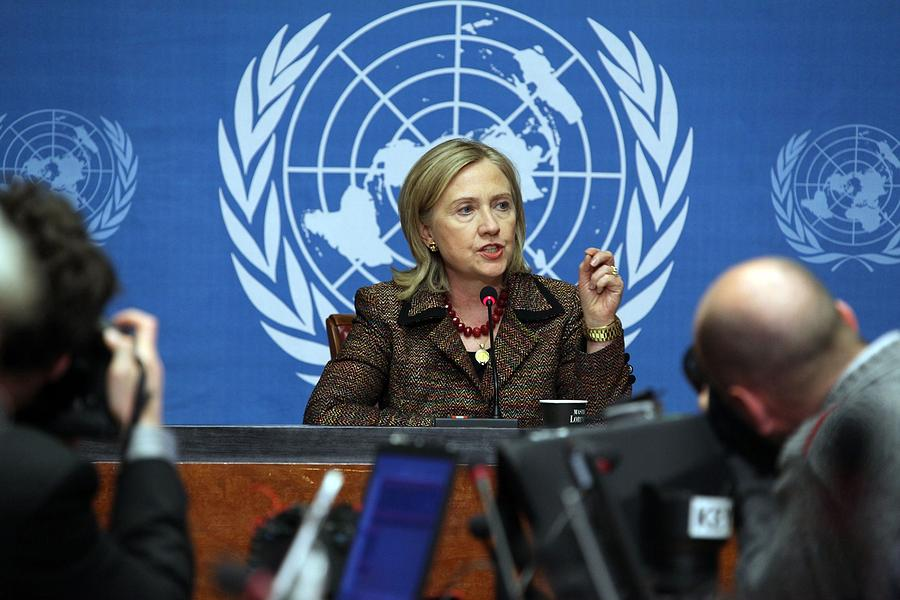 Hillary Clinton Speaking To The Press Photograph