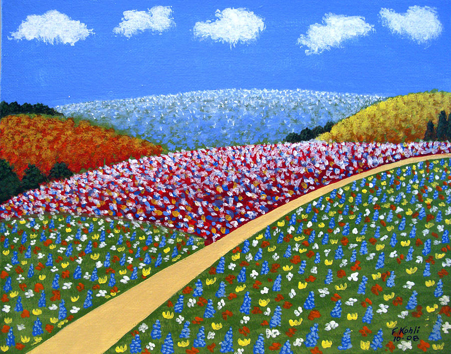 Hills Of Flowers Painting  - Hills Of Flowers Fine Art Print