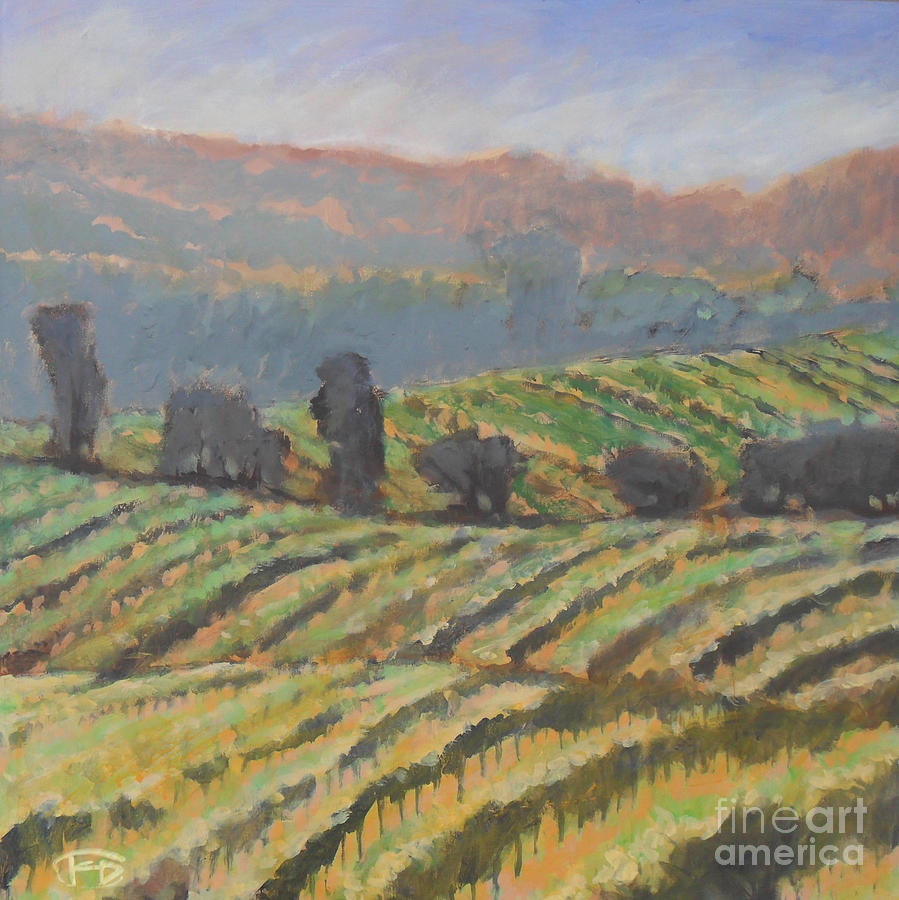 Hillside Vineyard Painting  - Hillside Vineyard Fine Art Print