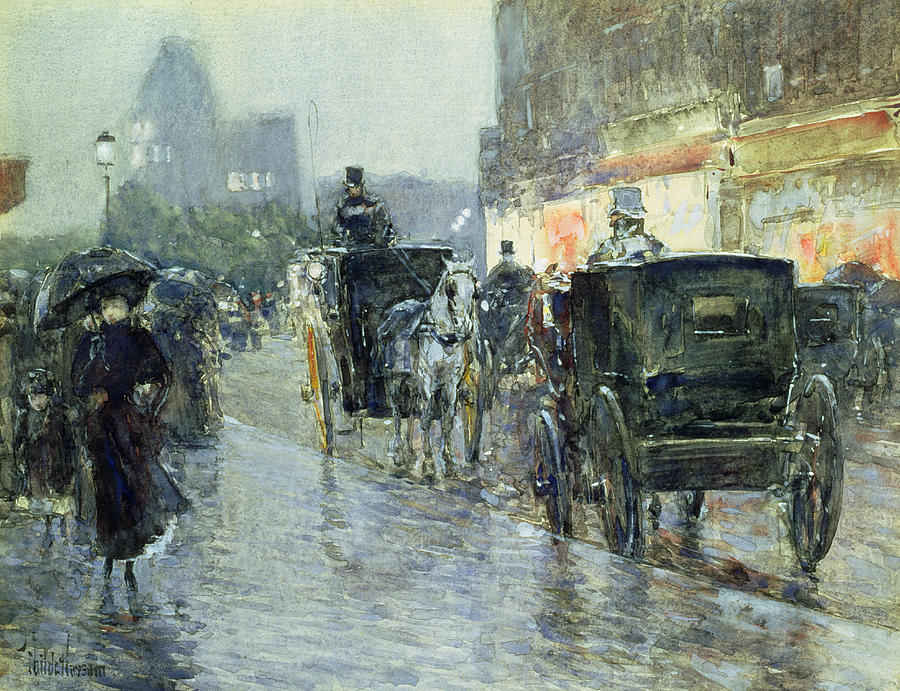 Horse Drawn Cabs At Evening In New York Painting  - Horse Drawn Cabs At Evening In New York Fine Art Print