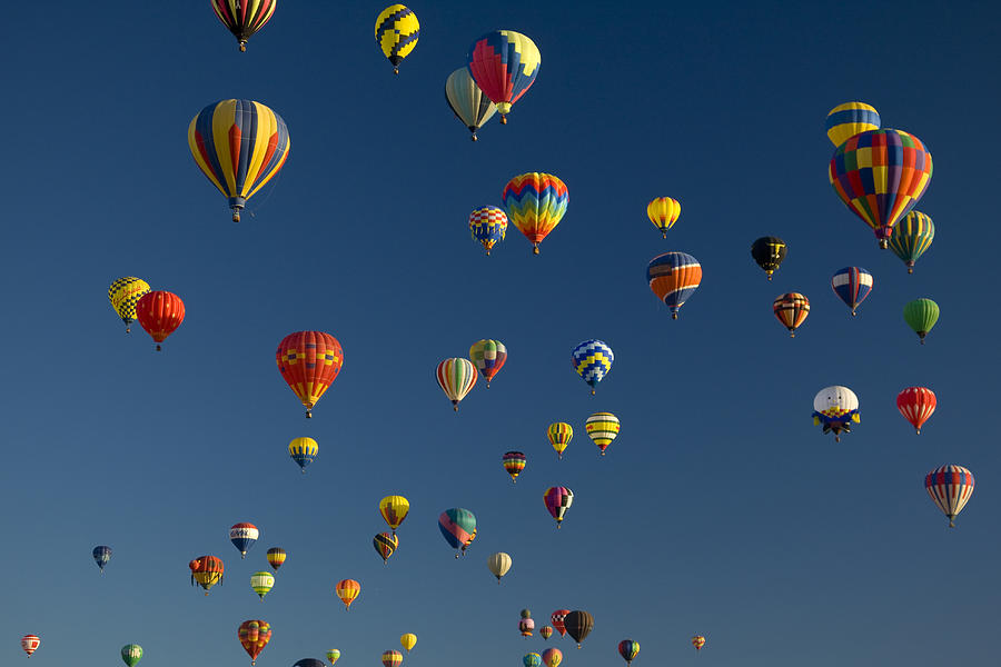 Hot Air Balloons Fly In A Hot Air Photograph  - Hot Air Balloons Fly In A Hot Air Fine Art Print