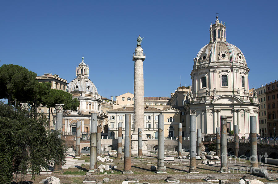 Imperial Fora With The Trajans Column And The Church Santissimo Nome Di Maria.  Rome Photograph