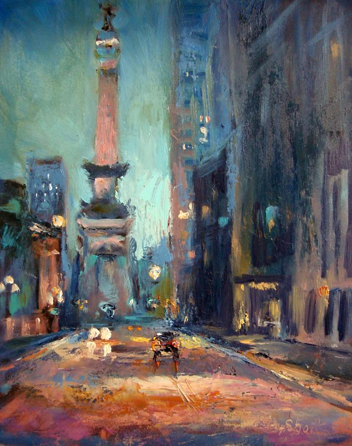Indy Circle Monument Painting  - Indy Circle Monument Fine Art Print
