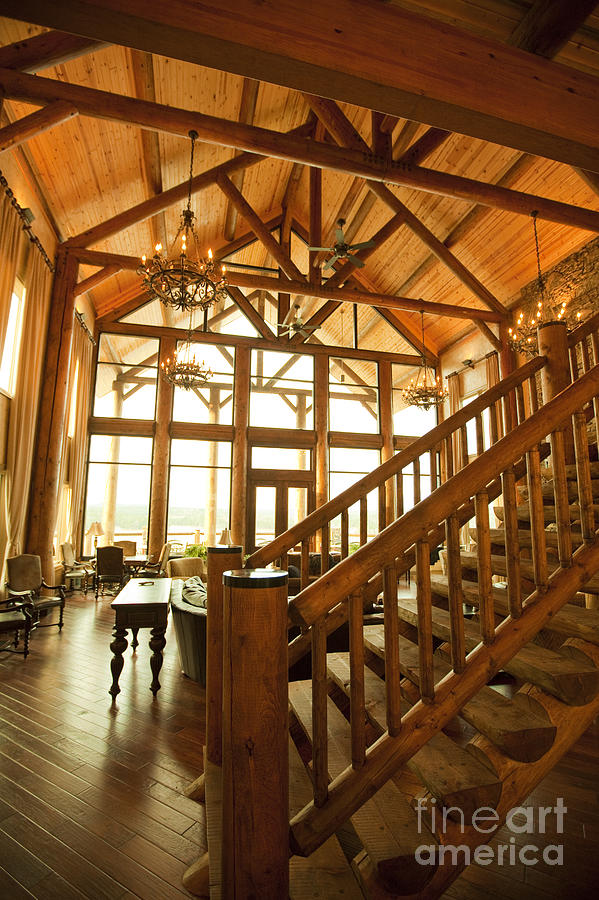 Interior Of Large Wooden Lodge Photograph  - Interior Of Large Wooden Lodge Fine Art Print