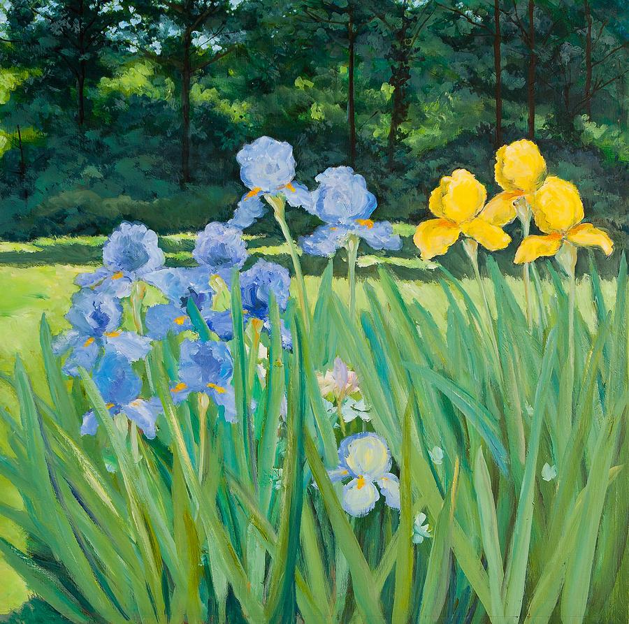 Irises In The Garden Painting