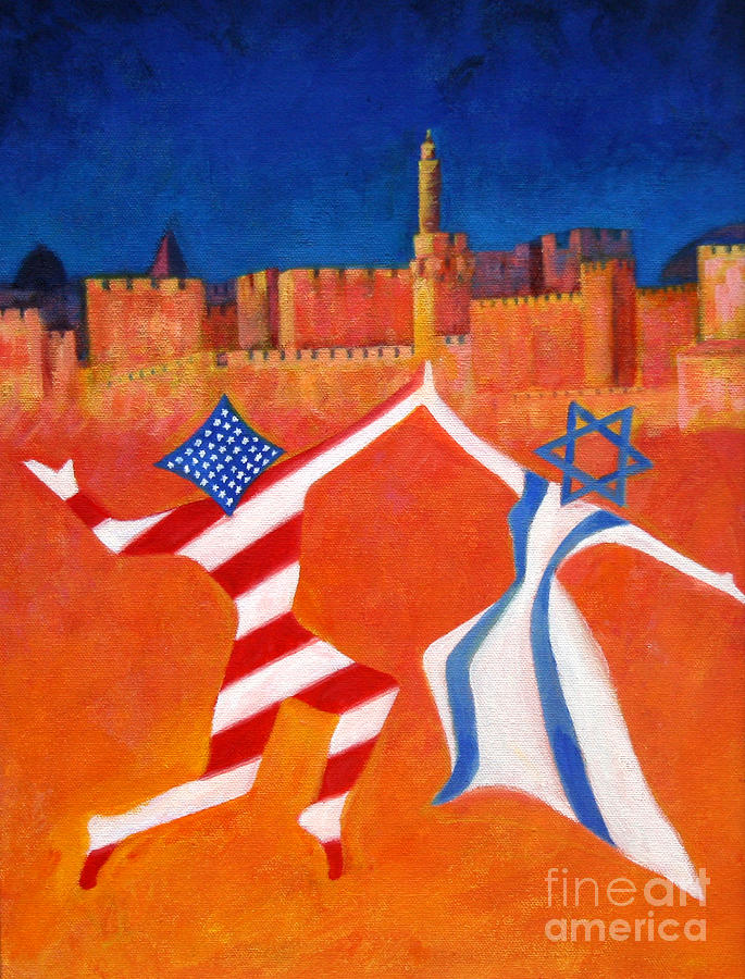 Israel And Usa Dancing Painting