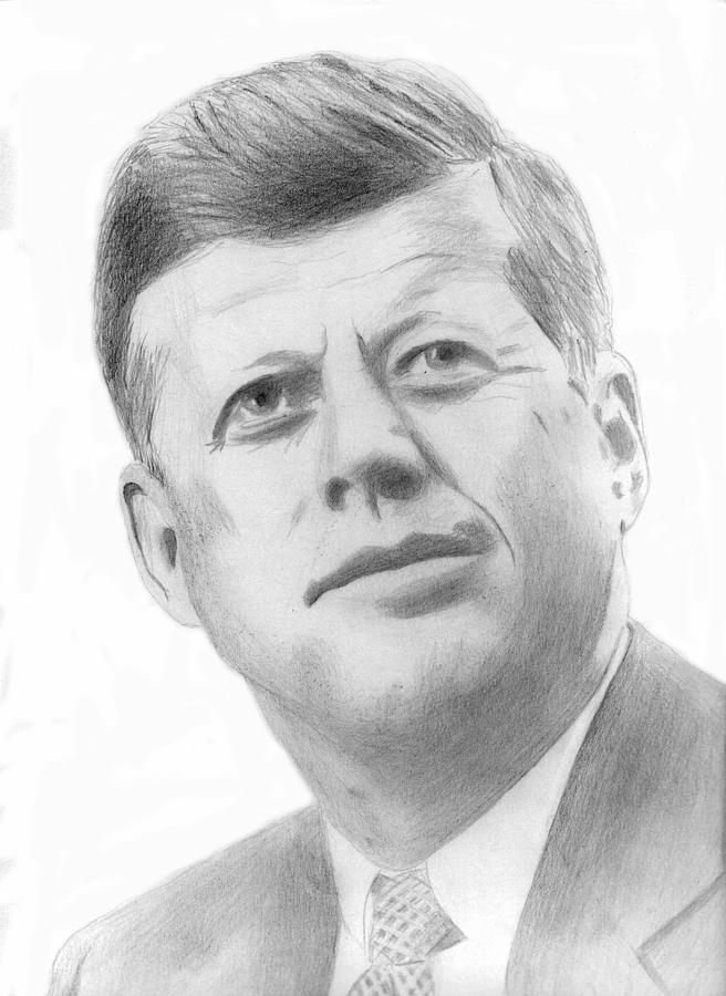 JFK Drawing  - JFK Fine Art Print